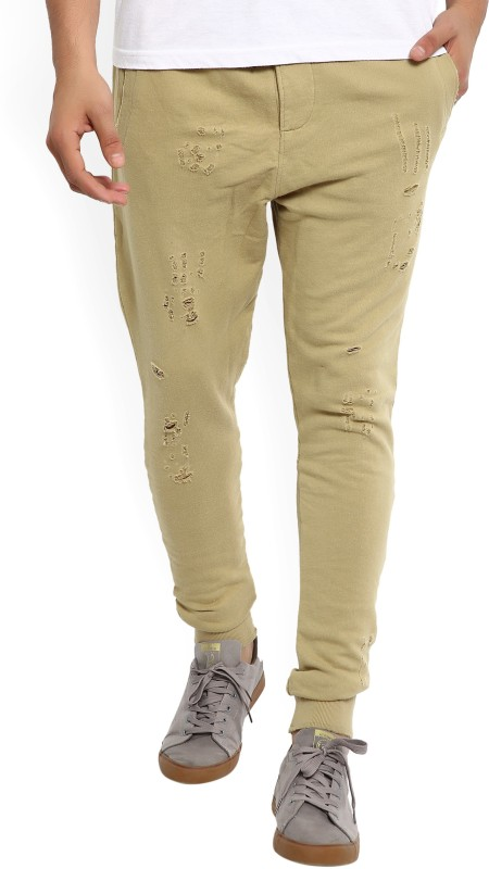 Jack & Jones Solid Men Beige Track Pants