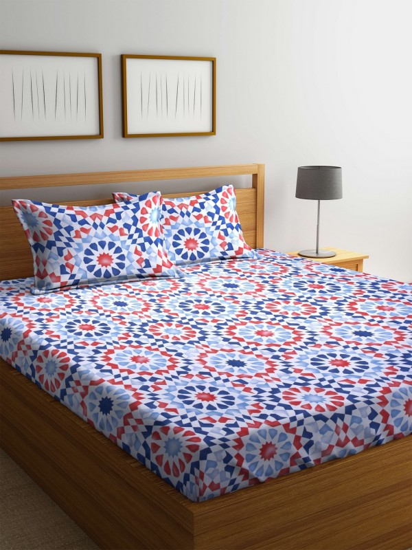 STELLAR HOME 104 TC Polyester Double Printed Bedsheet(Pack of 1, Multicolor)