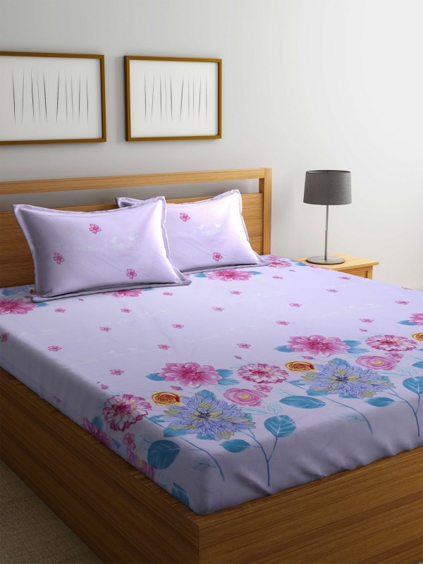 STELLAR HOME 104 TC Polyester Double Floral Bedsheet(Pack of 1, Multicolor)