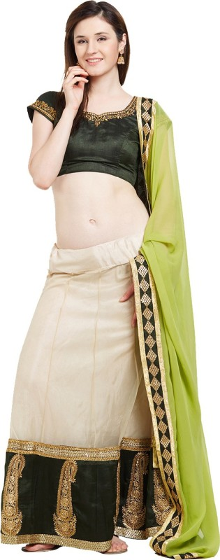 Viva N Diva Embroidered Semi Stitched Lehenga Choli(Beige)