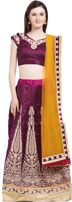 Viva N Diva Embroidered Semi Stitched Lehenga Choli(Pink)