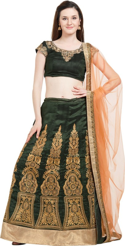 Viva N Diva Embroidered Semi Stitched Lehenga, Choli and Dupatta Set(Multicolor)