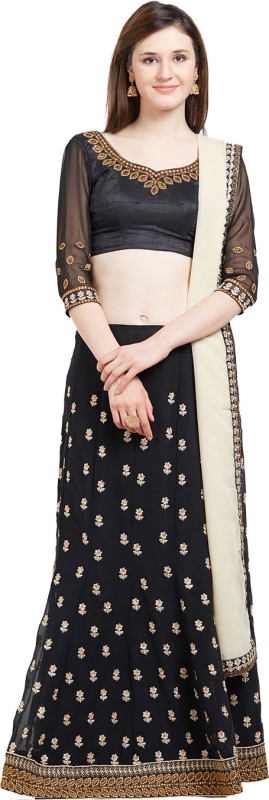 Viva N Diva Embroidered Semi Stitched Lehenga, Choli and Dupatta Set(Black, Beige)