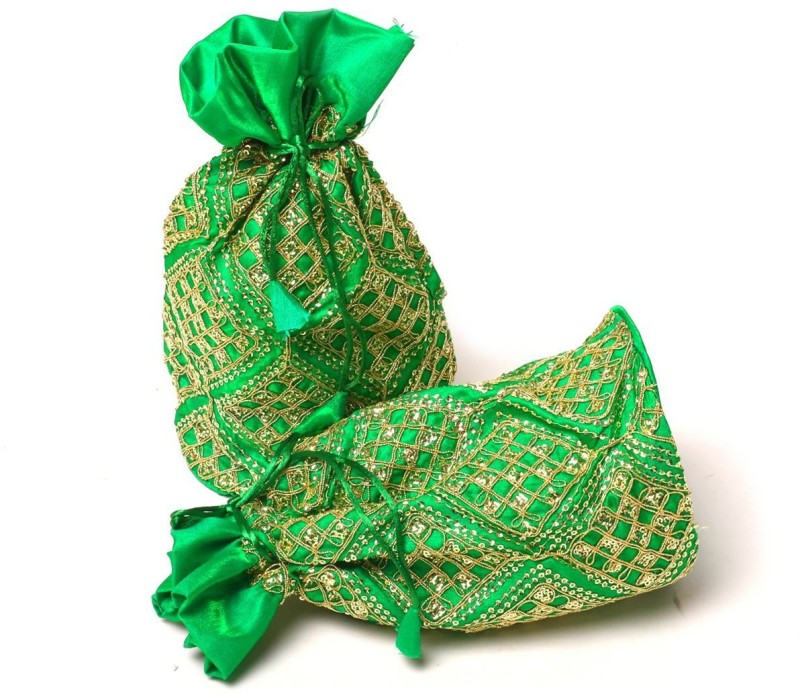 Kolorfish Sequence Square Indian Vibrant & Designer, Traditional Potli for Party-Wedding-Festival Gifting/ Jewellery Pouch/ Coin Pouch/ Make up bag Green 2 pieces Potli(Green)