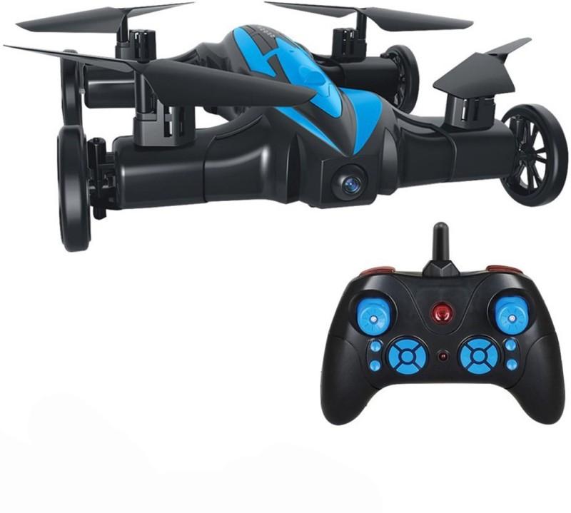 Hobbitos LH-X21 (2 in 1) Air & Ground Mode RC Quadcopter Flying Car with 3D Flip Headless Mode One-Key Return Drone (No Camera)(Black/Blue)
