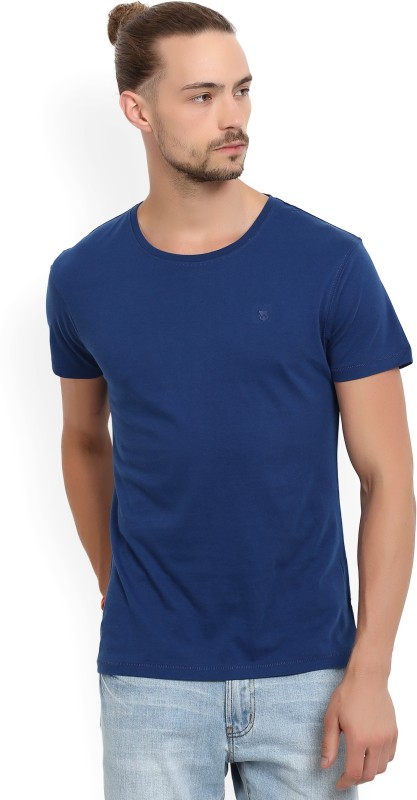 Wrangler Solid Mens Round Neck Blue T-Shirt