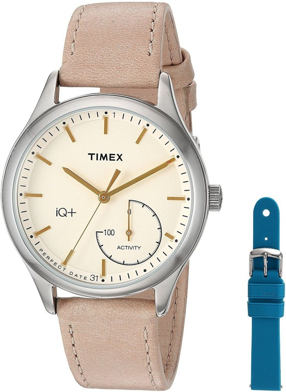 Timex White11644 Timex Women's TWG013500 IQ+ Move Activity Tracker Tan Leather Strap Smart Watch Set With Extra Teal Silicone Strap Analog Watch - For Women