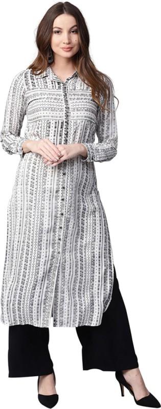 Jaipur Kurti Women Striped Straight Kurta(White)