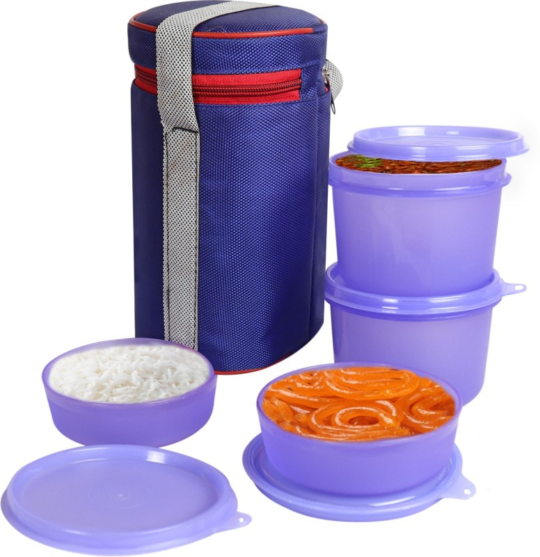 Topware 4 Container,Cylendrical Lunch Box, Blue 4 Containers Lunch Box(1200 ml)