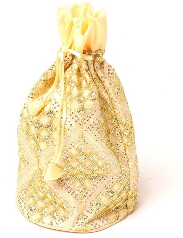 Kolorfish Sequence Square Indian Vibrant & Designer Traditional Potli for Party-Wedding-Festival Gifting/ Jewellery Pouch/ Coin Pouch/ Make up bag Golden Set of 2 Potli(Gold)