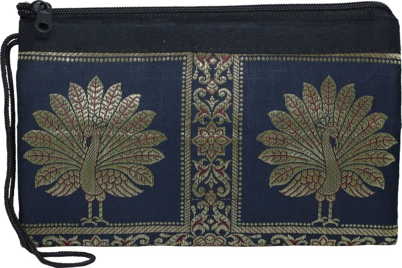 DnO Banarasi Dancing Peacock Design Black Color Utility Bag For Women Wristlet(Black)