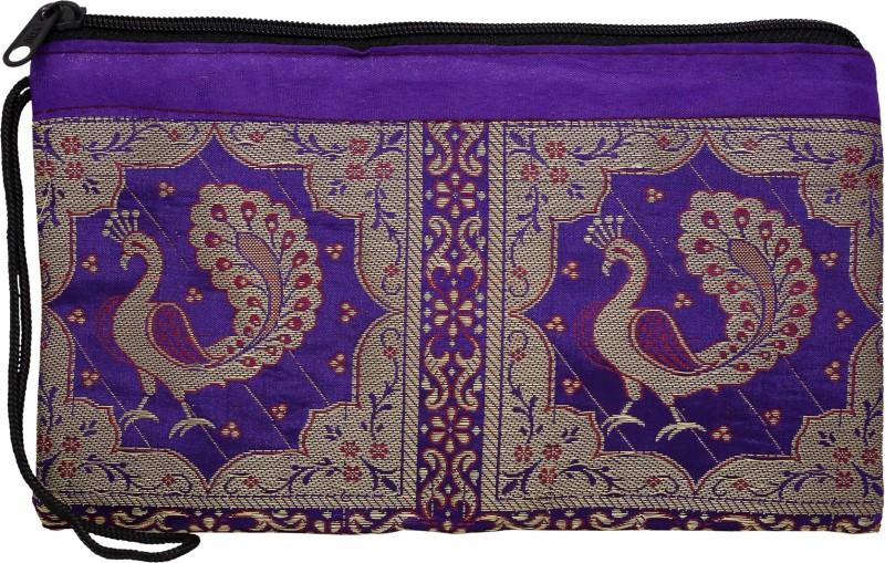 DnO Banarasi Peacock Design Purple Color Utility Bag For Women Wristlet(Purple)
