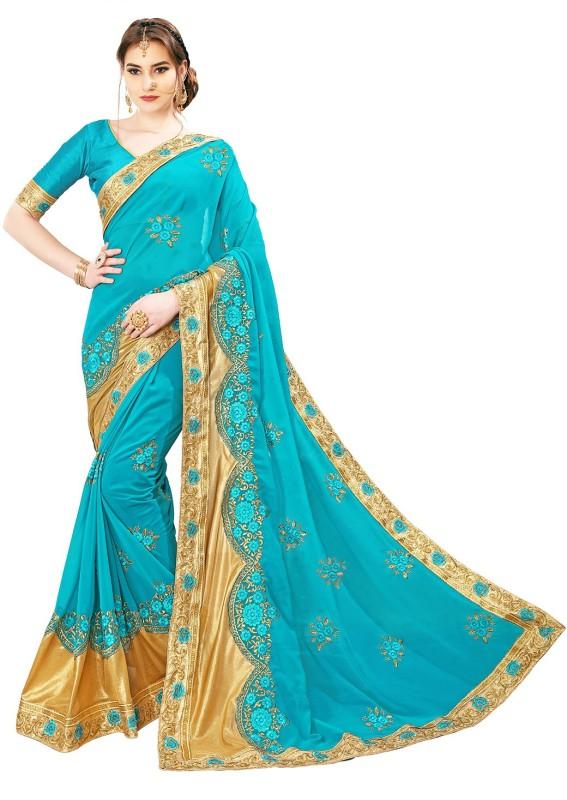 Sariya Embroidered, Embellished Bollywood Georgette, Shimmer Fabric Saree(Light Blue, Gold)