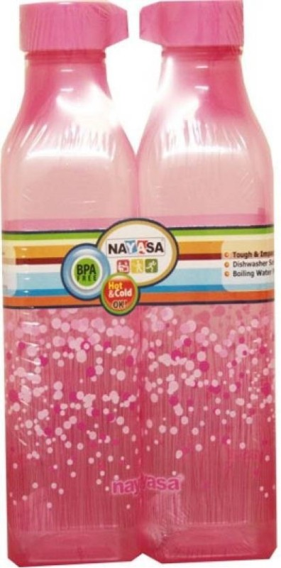 Nayasa Natasa square bottle 1000ml set of 2 1000 ml Bottle(Pack of 2, Pink)