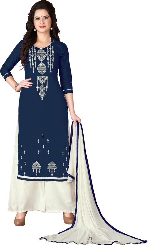 28742a9ef27 Vaidehi Fashion Cotton Embroidered Semi-stitched Salwar Suit Dupatta  Material