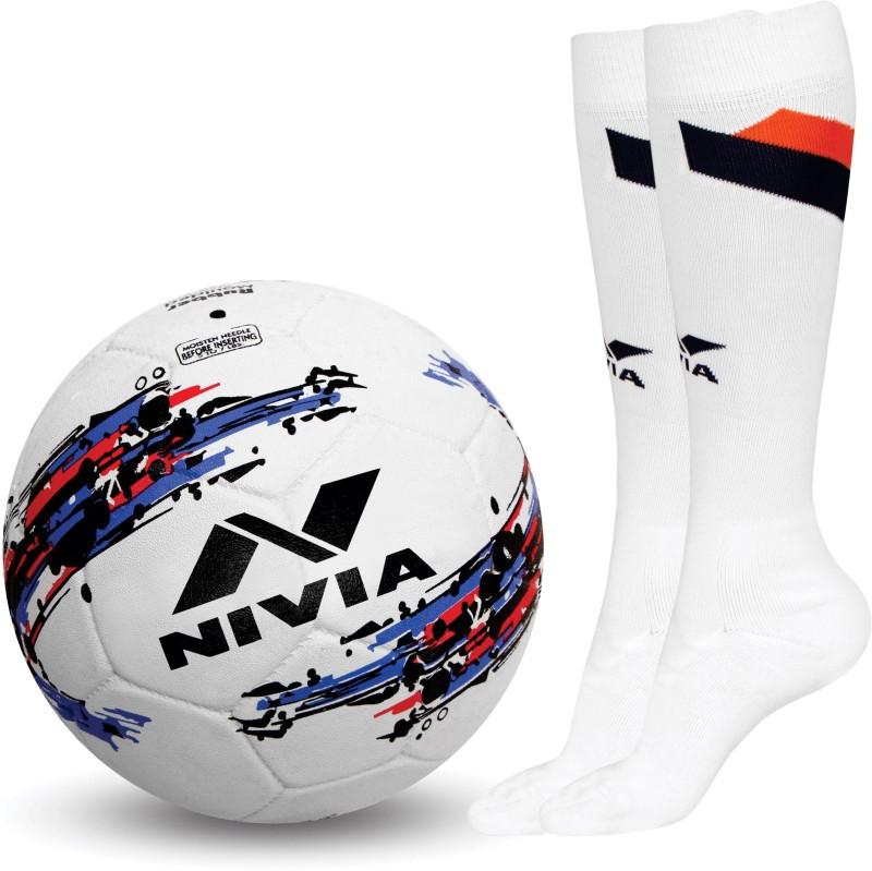 Nivia STORM FOOTBALL+ DOMINATOR STOCKING (white) Football Kit