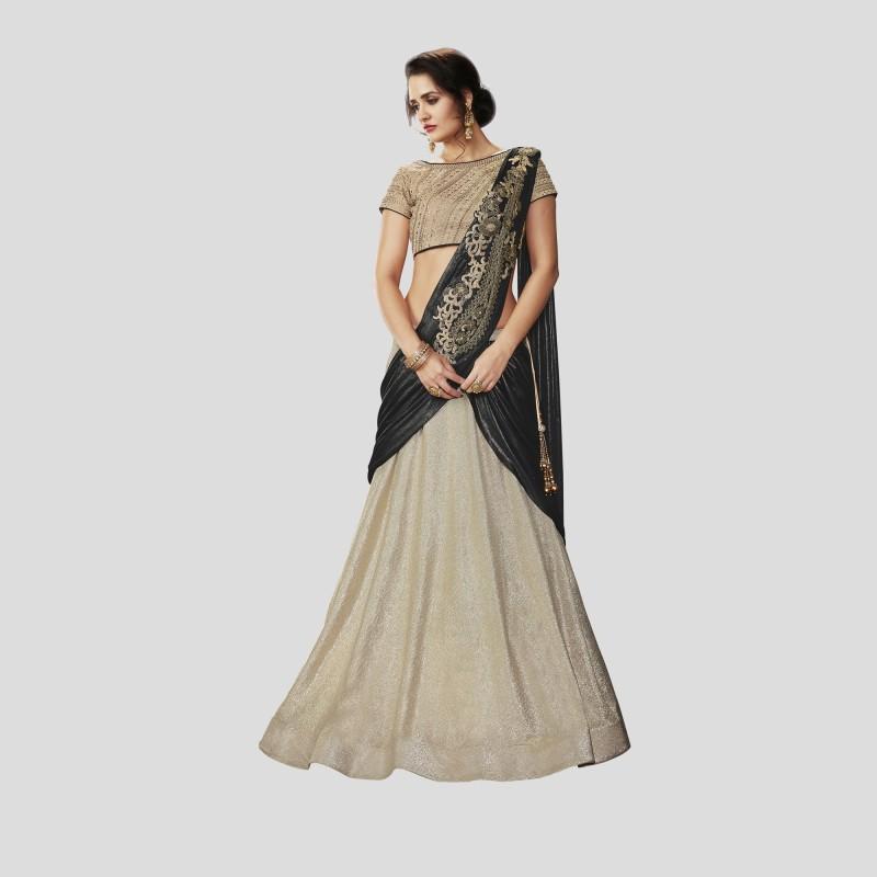 Mahotsav Solid, Self Design, Embroidered, Embellished Semi Stitched Lehenga, Choli and Dupatta Set(Beige, Black)