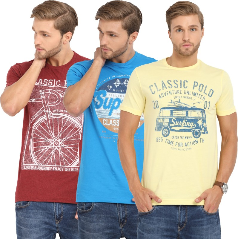 Classic Polo Printed Men Polo Neck Multicolor T-Shirt(Pack of 3)