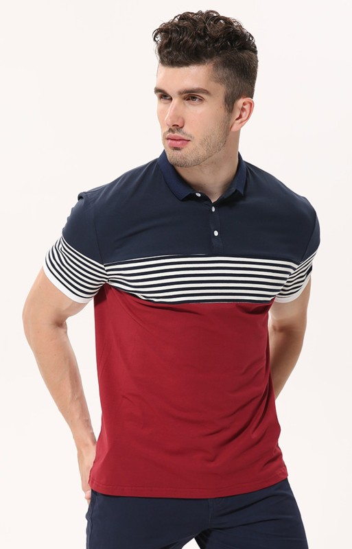Fanideaz Striped Men's Polo Neck Red T-Shirt