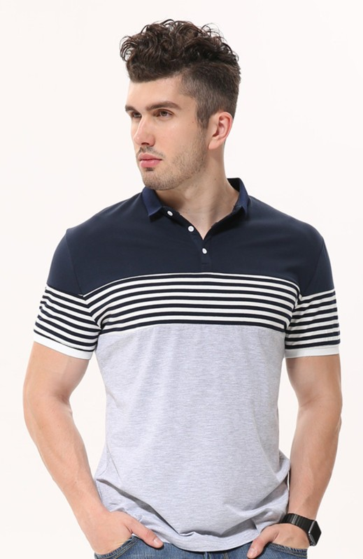 Fanideaz Striped Men's Polo Neck Grey T-Shirt