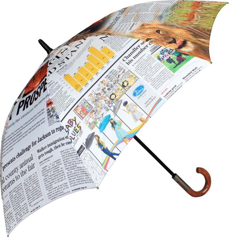 Johns News Paper Print-1 Straight Fold Auto Open Umbrella Umbrella(White)