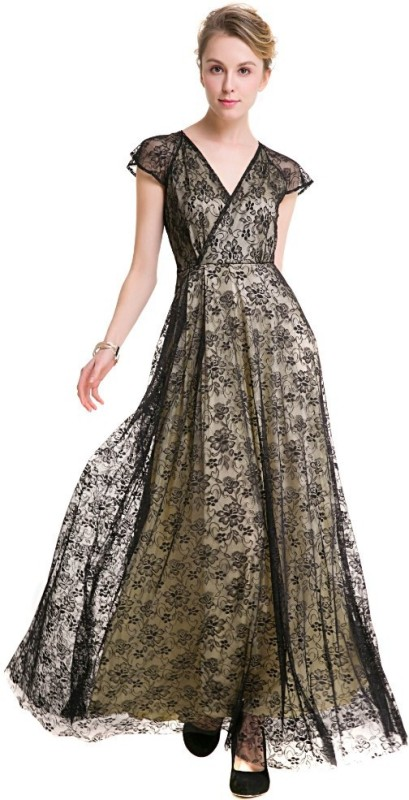 fashiol Women Maxi Beige Dress