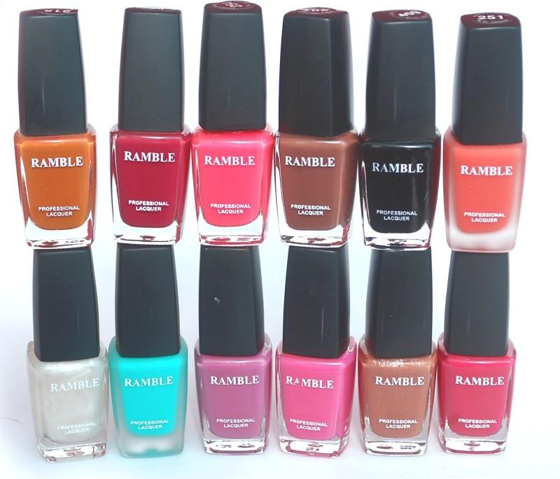 Ramble Nail Polish Set 08 Multicolor(Pack of 12)