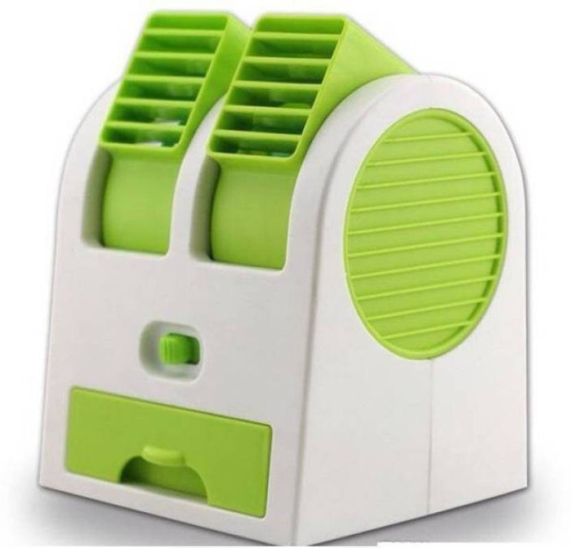 Akline Mini Air Cooler Fragrance Cooling 8 Blade Table Fan(Green)