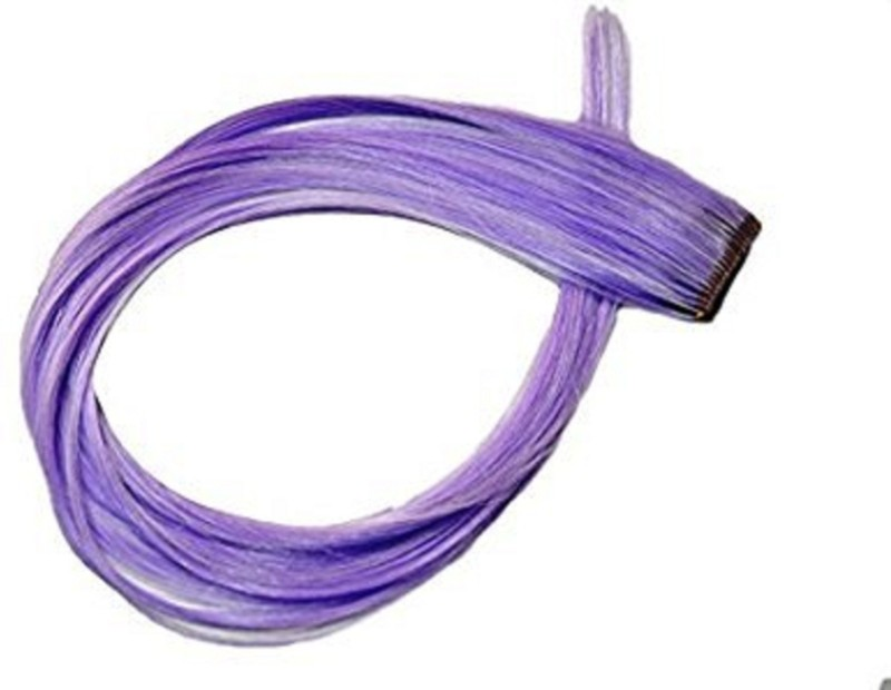 AASA Color with Clip in Straight Piece Colored Extension For Kids, Girls & Women - Purple Colour Hair Extension