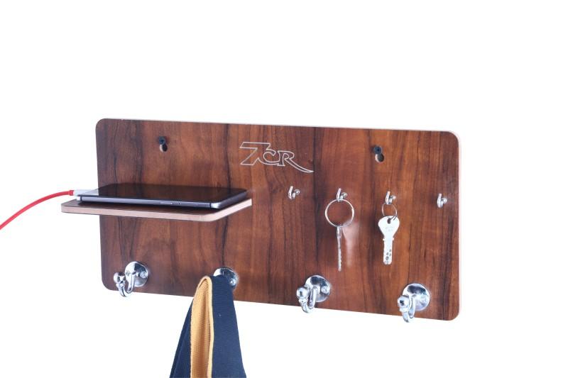 7CR Key holder (Full shelf-4B) WB Wooden Key Holder(4 Hooks, Brown)