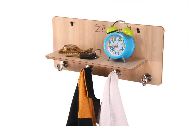 7CR Key holder (Full shelf-4B) Wooden Key Holder(4 Hooks, Beige)