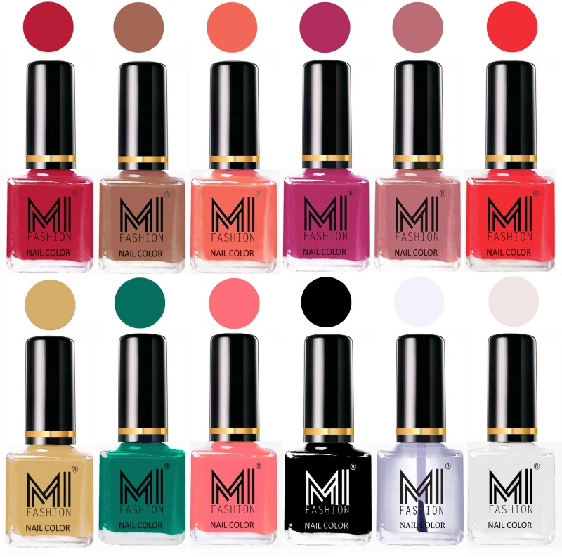 MI Fashion Non-Toxic Premium Lacquer 7 Days Long Lasting Nail Polish Shades of 12 Pcs in Wholesale Rate- Magenta ,Dark Nude ,Peach ,Plum ,Nude Spring ,Coral ,Tan ,Sea Green ,Pink ,Black ,Top Coat ,White(Pack of 12)