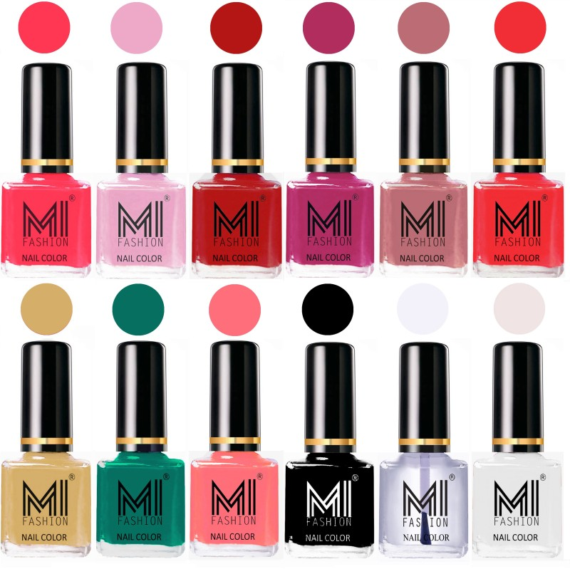 MI Fashion Non-Toxic Premium Lacquer 7 Days Long Lasting Nail Polish Shades of 12 Pcs in Wholesale Rate- Neon Pink ,Pale Violet ,Red ,Plum ,Nude Spring ,Coral ,Tan ,Sea Green ,Pink ,Black ,Top Coat ,White(Pack of 12)