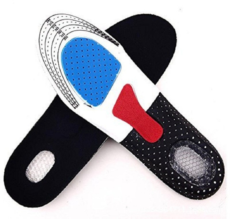 Generic Free Size Orthotic Arch Support Shoe Pad Sport Running Cushion Insoles For Unisex Genuine Leather Full Length Orthotic Shoe Insole(Black)