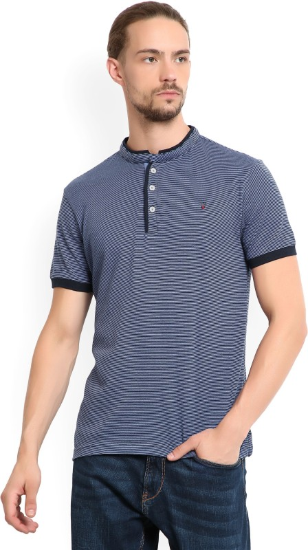 LP Louis Philippe Striped Mens Henley Blue T-Shirt
