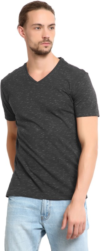 LP Jeans by Louis Philippe Printed Mens V-neck Grey T-Shirt