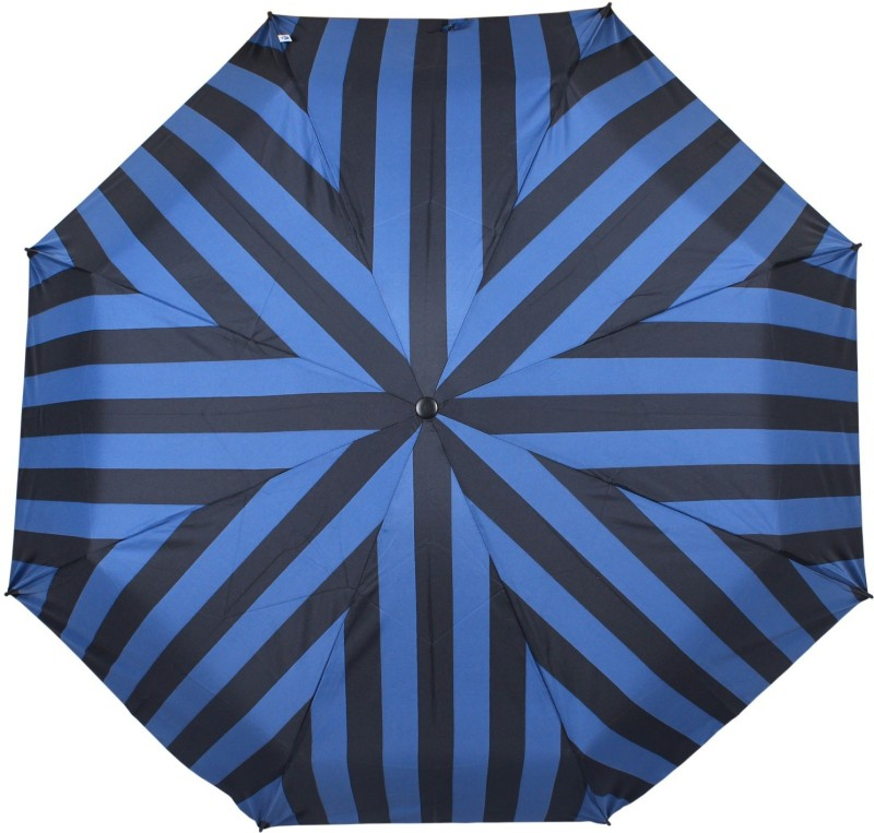 Johns 3 Fold Aoc Wooden Broad and Stripes-2 Umbrella(Blue)