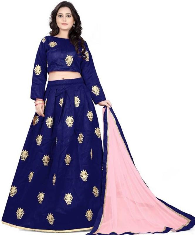 Omstar Fashion Embroidered Semi Stitched Lehenga, Choli and Dupatta Set(Blue)