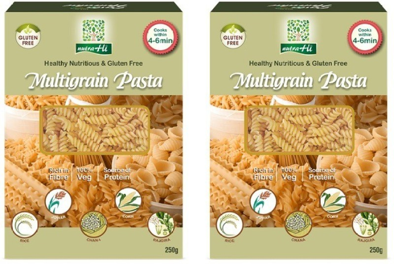 NutraHi Multigrain Gluten Free Pasta Pack of 2 - 250g Each - By NutrHi Fusilli Pasta(Pack of 2, 500 g)