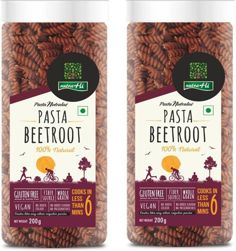 NutraHi Beetroot Gluten free Pasta Pack of 2 - 200g Each - By NutrHi Fusilli Pasta(Pack of 2, 400 g)