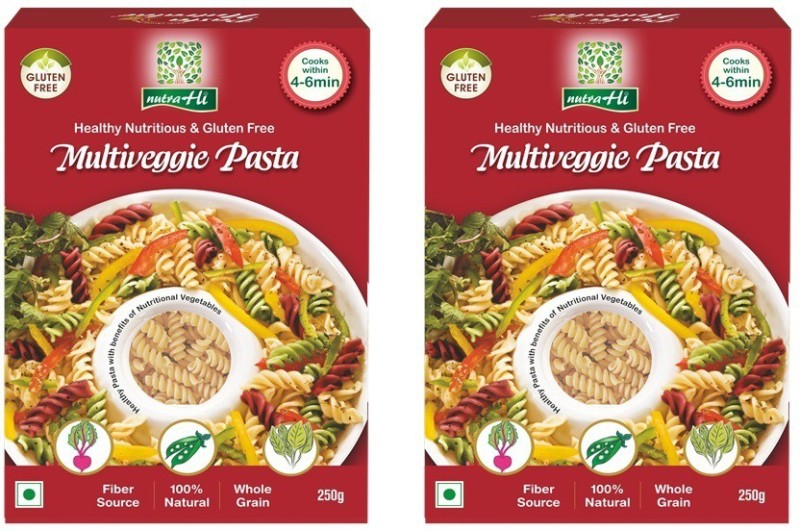 NutraHi Multigveggie Gluten Free Pasta Pack of 2 - 250g Each - By NutrHi Fusilli Pasta(Pack of 2, 500 g)