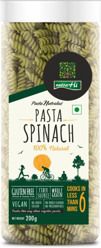 NutraHi Spinach Gluten Free Pasta 200g by NutrHi Fusilli Pasta(200 g)