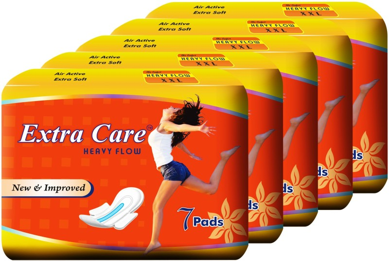 Extra Care Heavy Flow XXl Pack of 5 Sanitary Pad(Pack of 5)