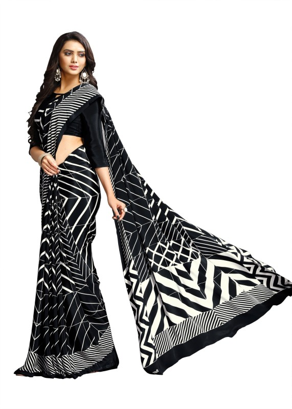Aruna Sarees Solid, Plain, Digital Prints Bollywood Pure Crepe Saree(Multicolor)