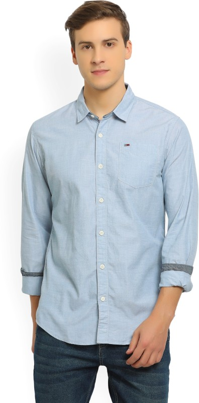 Tommy Hilfiger Mens Solid Casual Spread Shirt