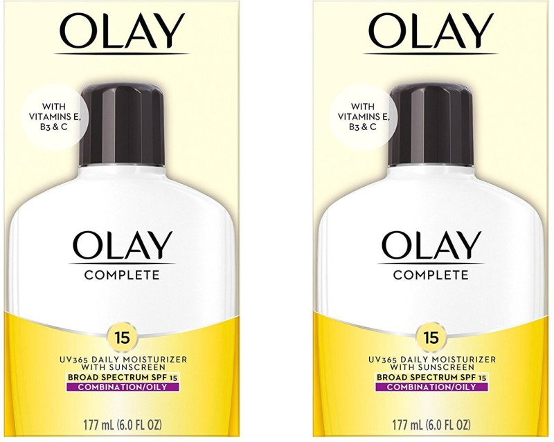 Olay Complete All Day Moisturizer With Sunscreen Broad Spectrum SPF 15 - Combination/Oily 6.0 Fl Oz (Pack of 2) - SPF 15 NA(177 ml)