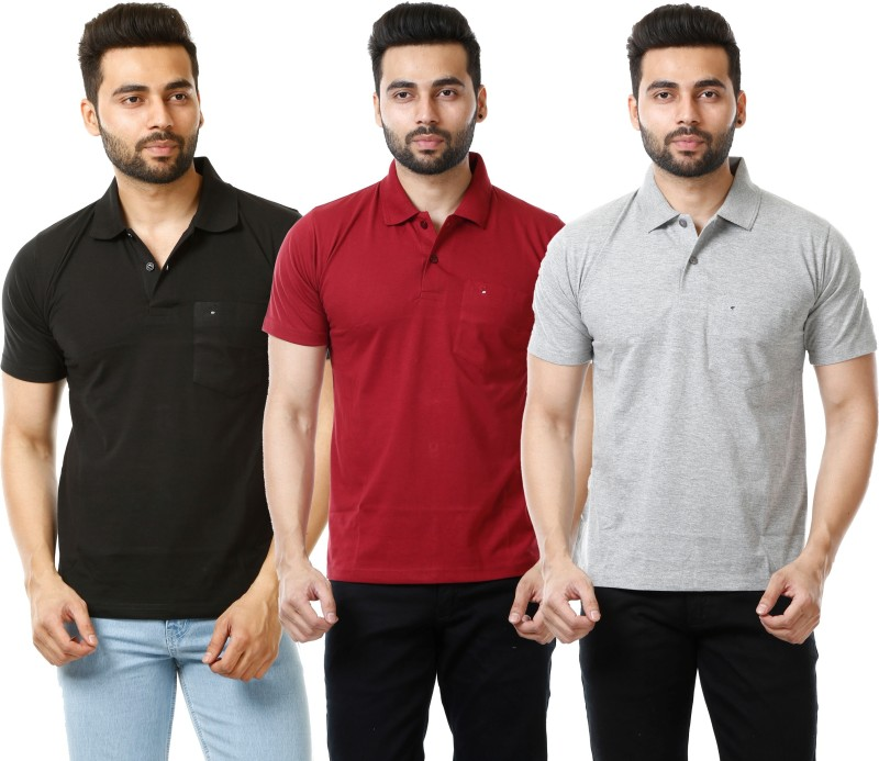 MOUDLIN Solid Men's Polo Neck Black, Maroon, Silver T-Shirt(Pack of 3)