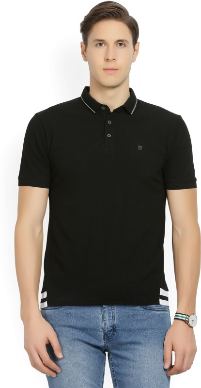 Wrangler Solid Men Polo Neck Black T-Shirt