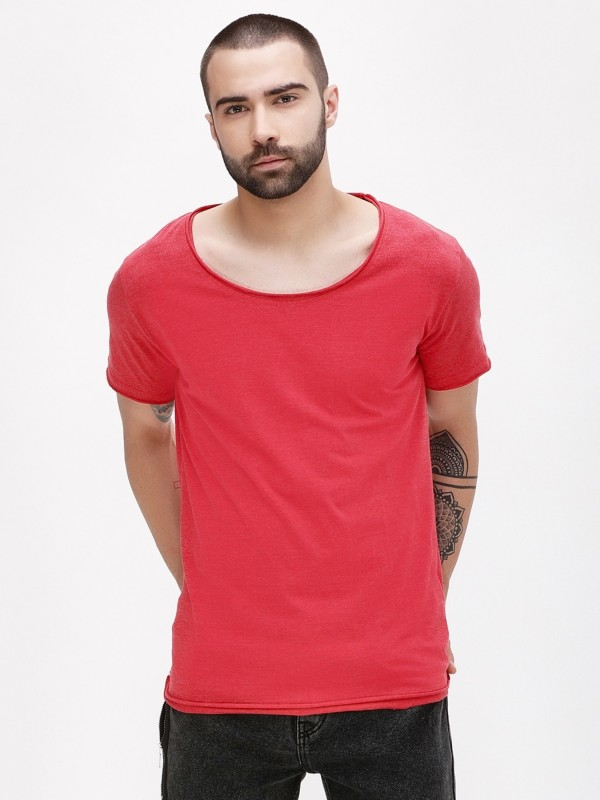 PAUSE Solid Men Scoop Neck Red T-Shirt