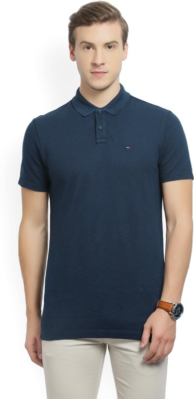 Tommy Hilfiger Woven Mens Polo Neck Dark Blue T-Shirt